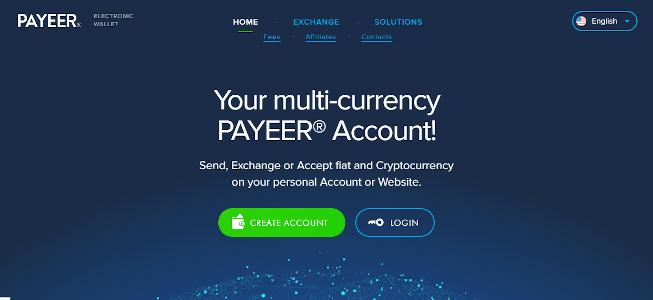 schermata iniziale payeer
