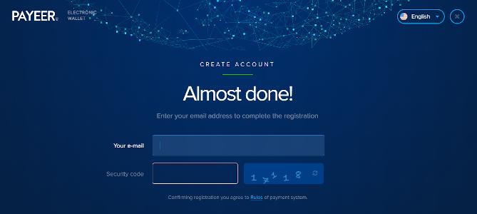 schermata registrazione payeer
